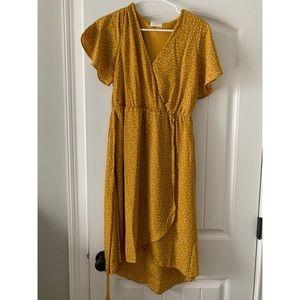 Sienna Sky mustard polka dot midi dress